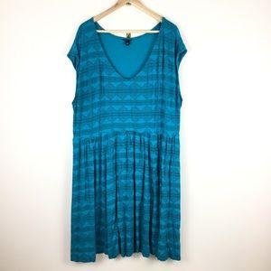 Torrid Plus Size Sleeveless Dress Blue Tribal 4X